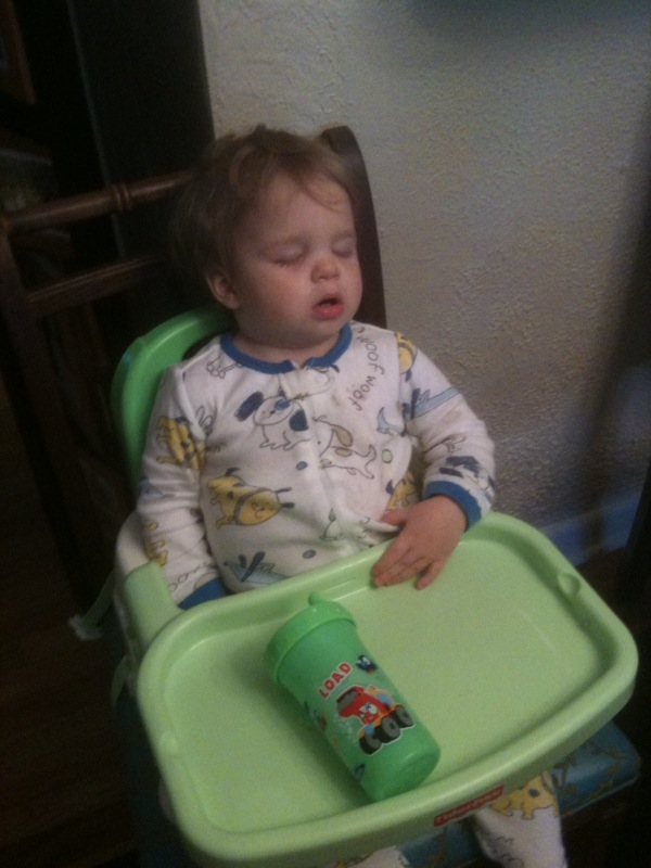 Alex sleeps at dinner