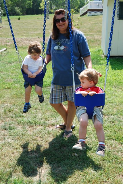 Mommy swings the boys