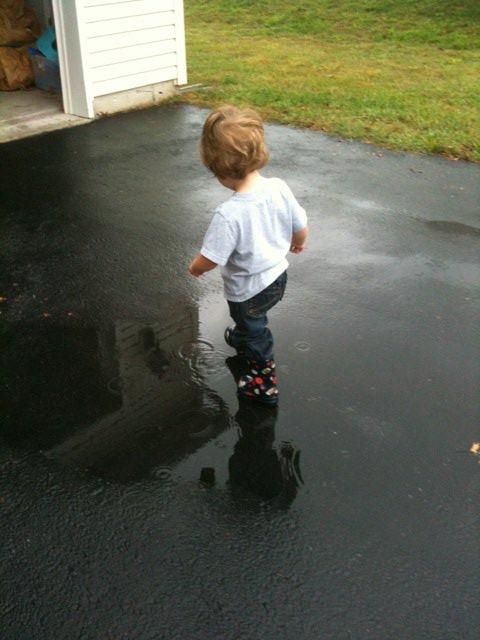 Splashing in puddle