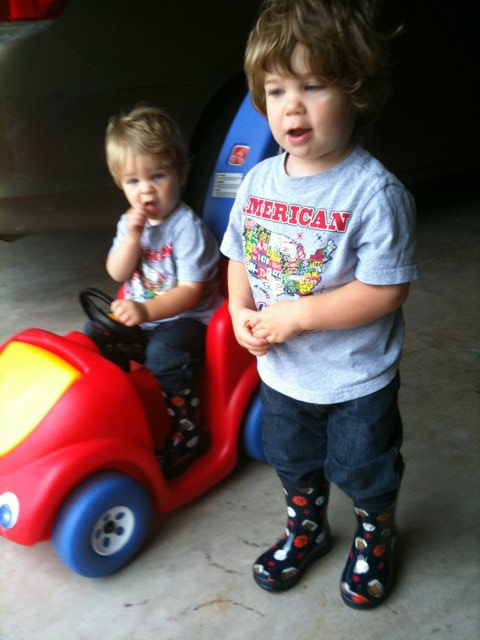 Alex and Adam in Rain Boots