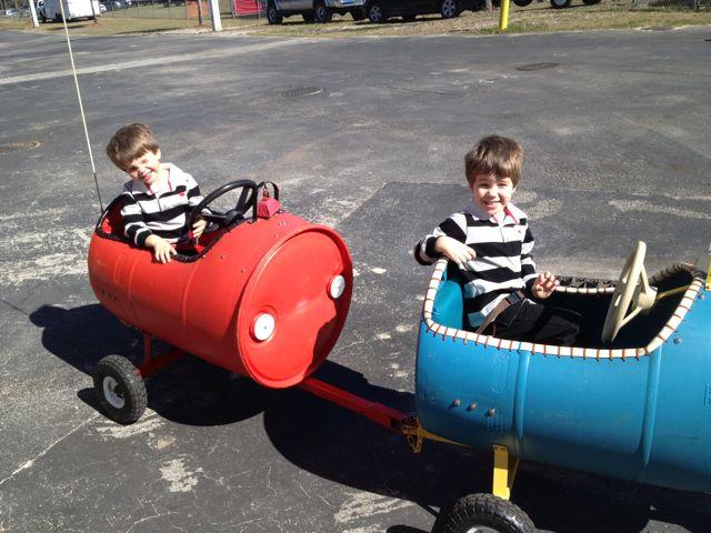 The boys ride the train