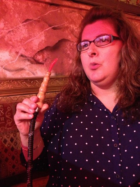 Cindy smokes hookah