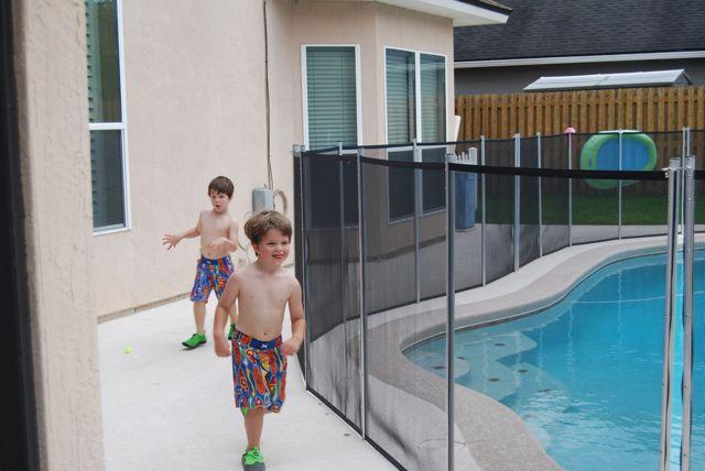 Running around the pool