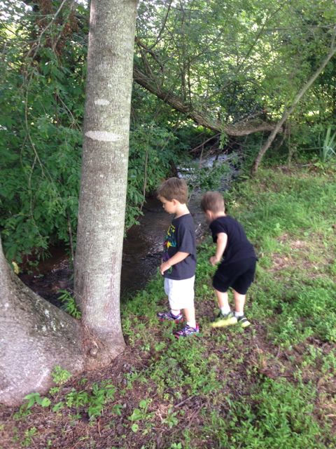 Adam and Alex at the creek