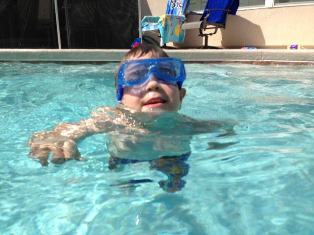 Adam swims
