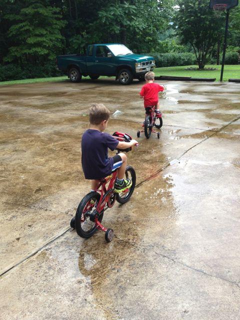 The boys on their bikes