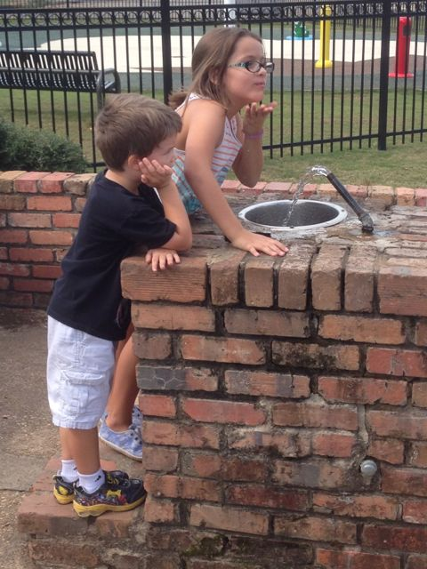 Alex and Kam at the water fountain