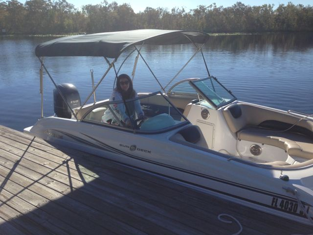 Cindy docks the boat