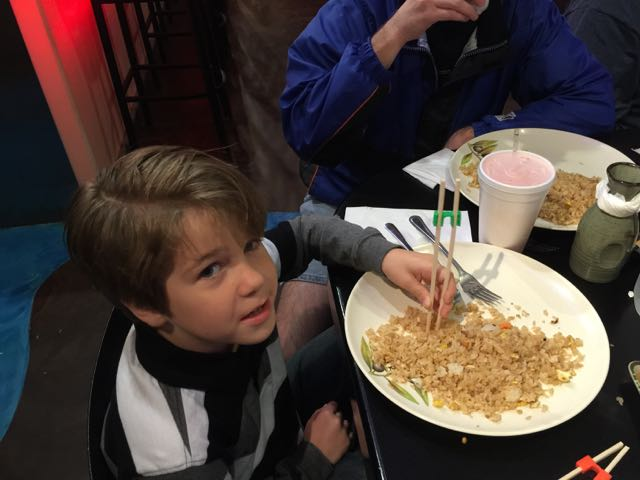 Adam uses chopsticks