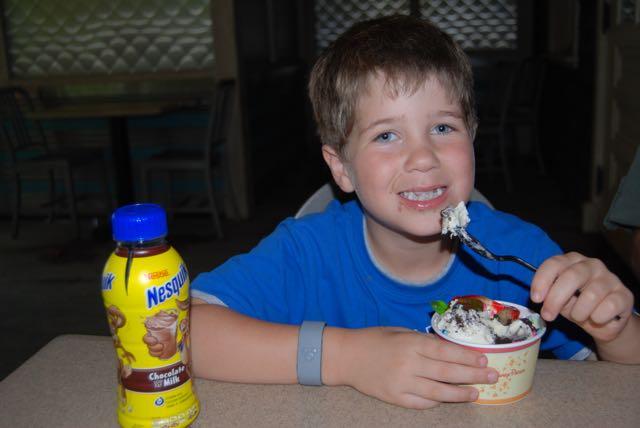 Adam eats ice cream