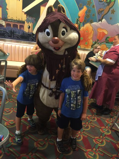 The boys with Chip the Ewok