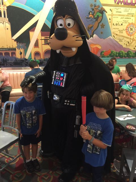 The boys with Darth Goofy