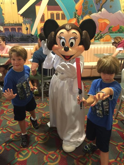 The boys with Princess Minnie