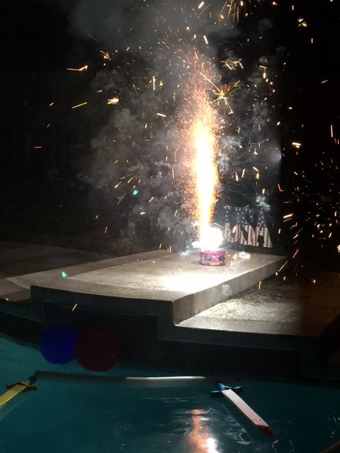 Fireworks by the pool