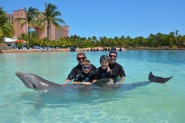 Family and dolphin photo