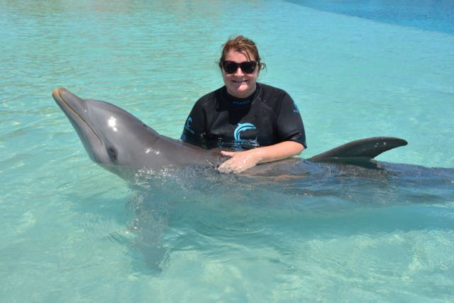 Mom and dolphin