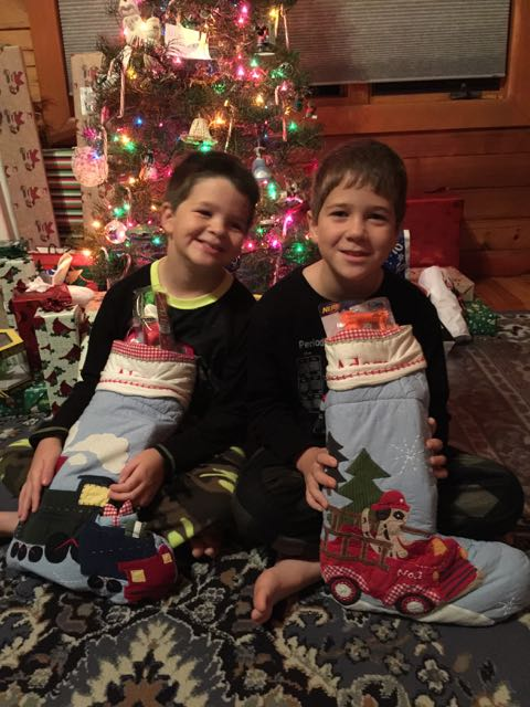 Boys with their stockings