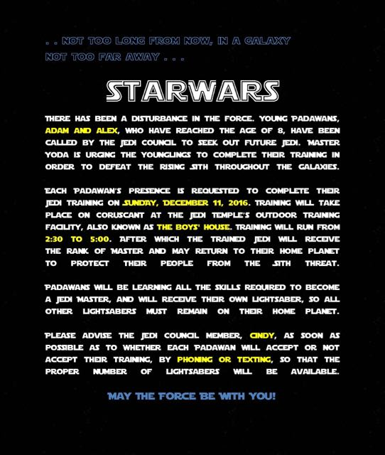Star Wars Invite